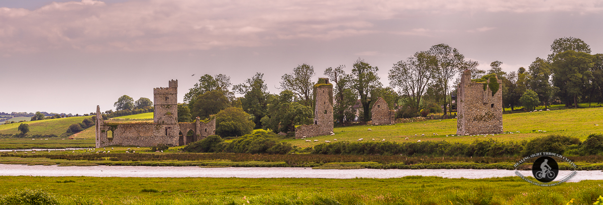 Abbey in Clonmines, Bannow Bay. County Wexford - pano