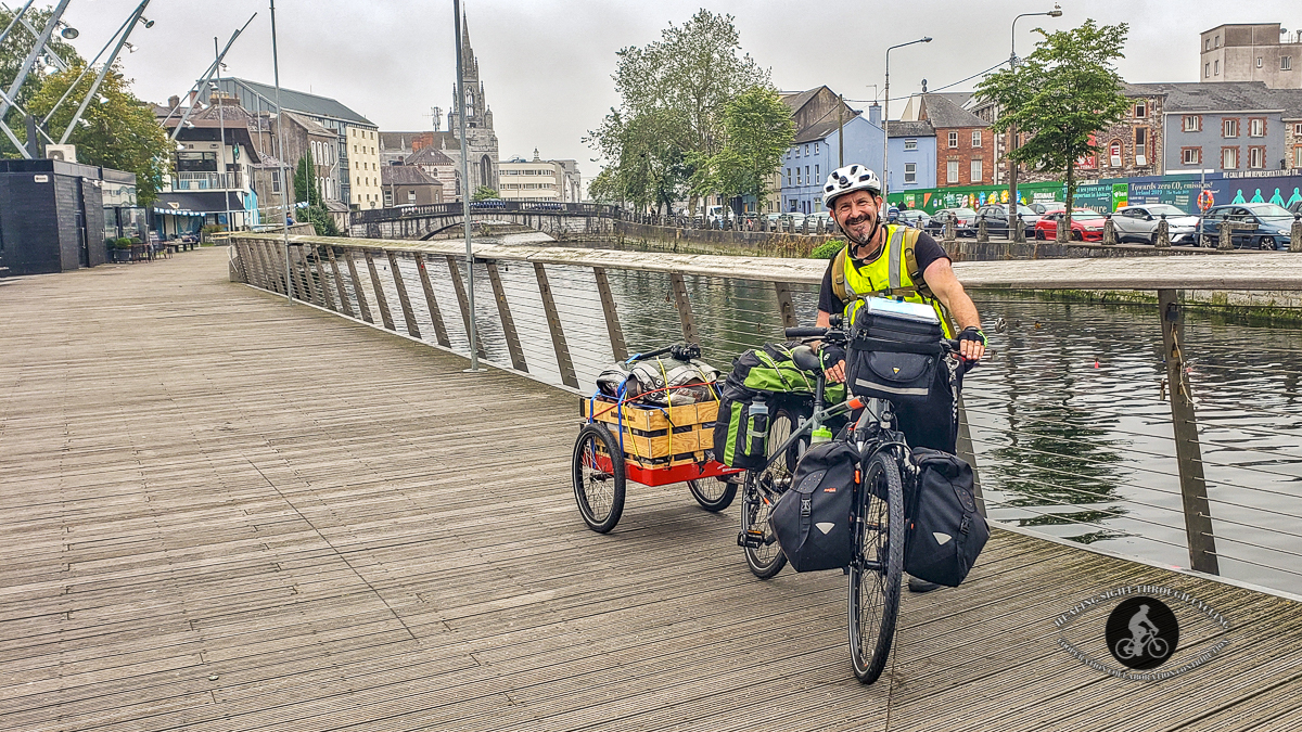 Boruch and Bike in front of River Lee - Cork City - County Cork