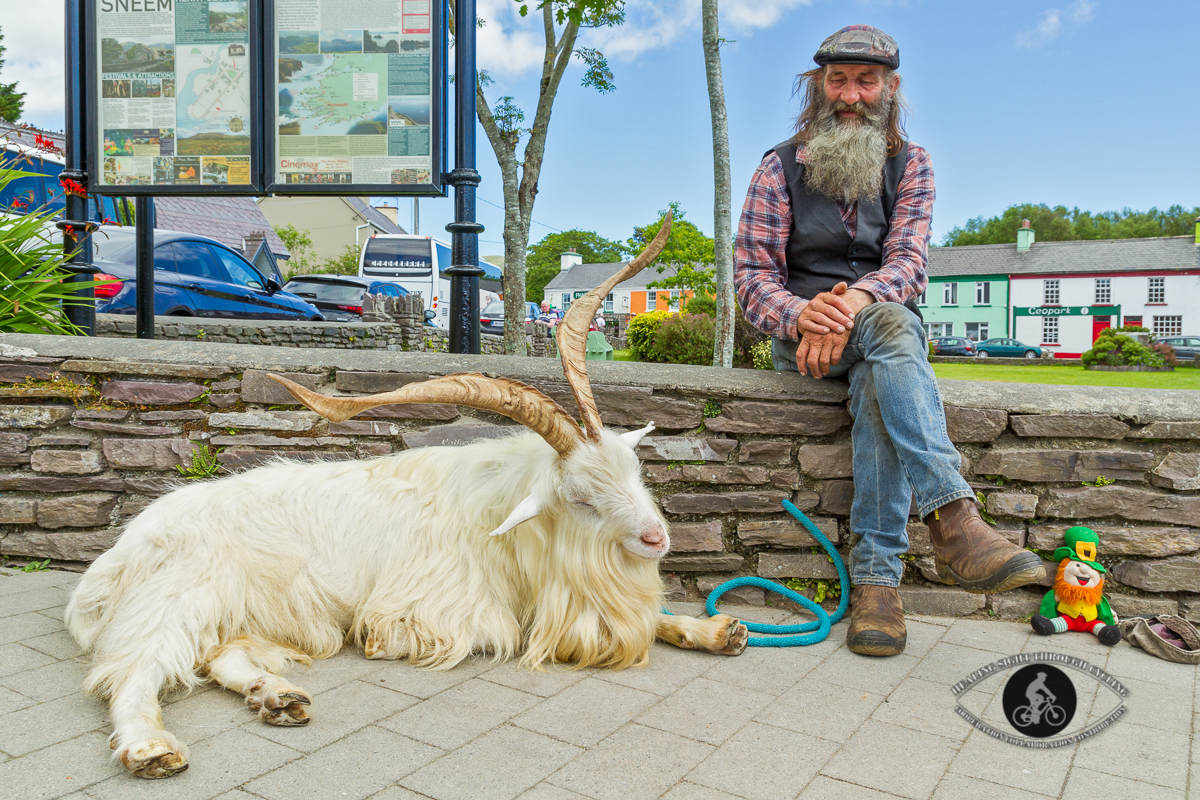 A man and his pet goat - Sneem village - Ring of Kerry