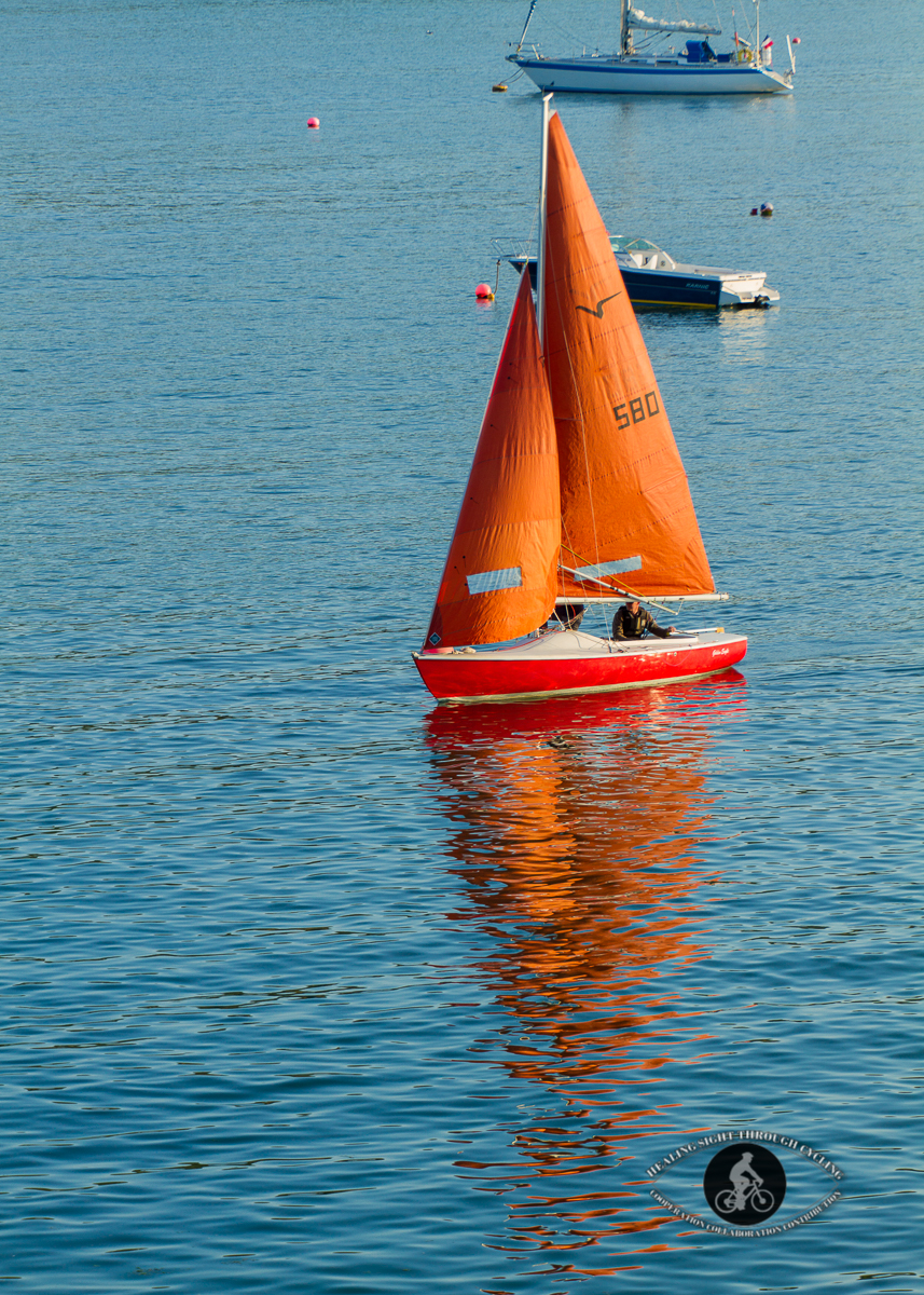 Red sailboat in the Glandore Bay - County Cork