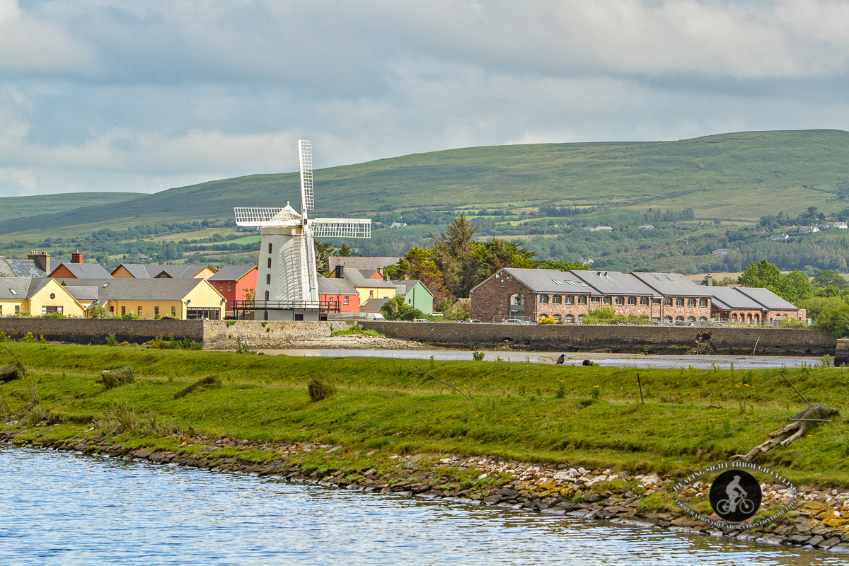 Blennerville Windmill from an angle - over the river - landscape - further