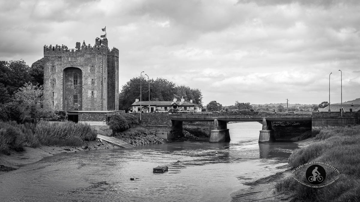 Bunratty Castle from over the river - BW