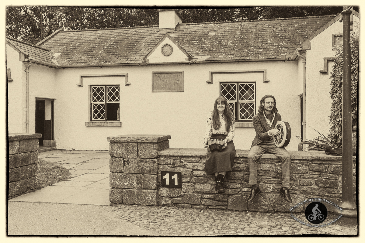 Musicians in Bunratty Village - landscape - sepia