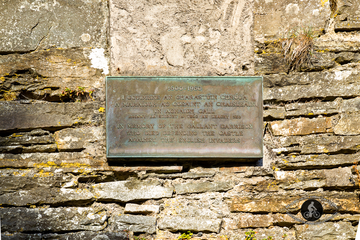 Old Castle House over River Glencorbry - County Limerick - plaque
