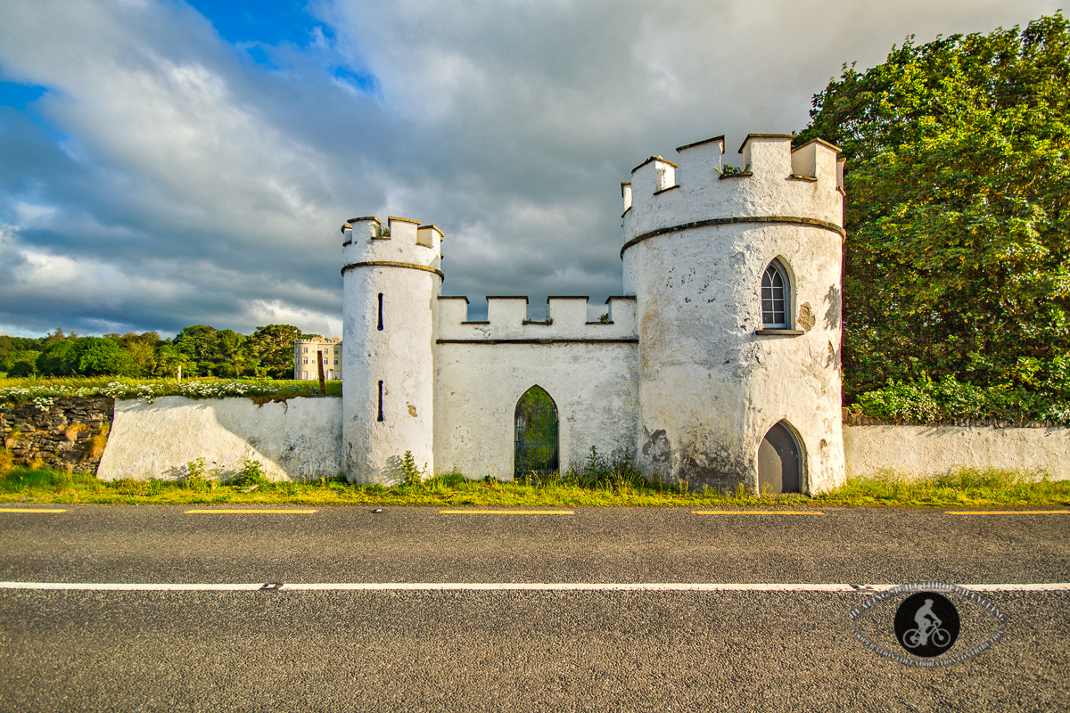 Old white entrance to Glin Castle County Limerick