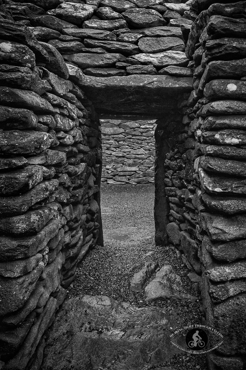 Prehistoric Beehive Huts Fahan Goup 2000 BCE - entrance to hut - BW