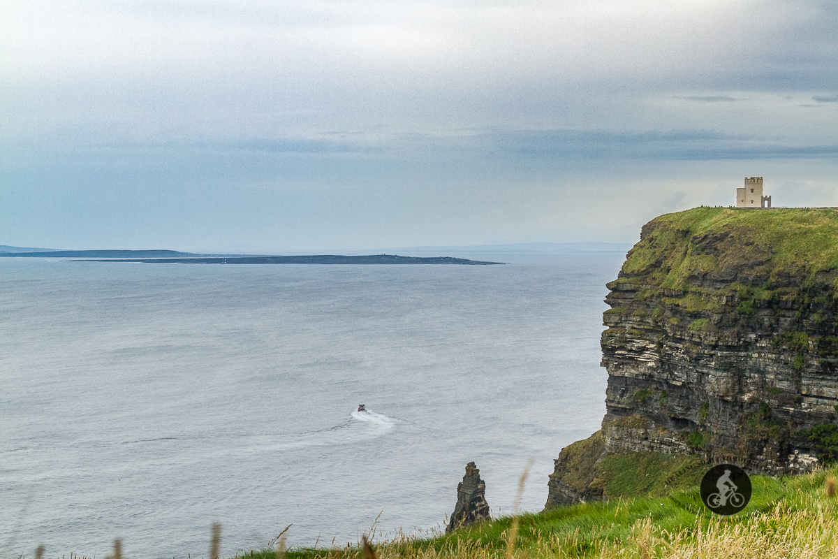 Jack-B on the ocean under the Cliffs of Moher and O'Briens Tower - B