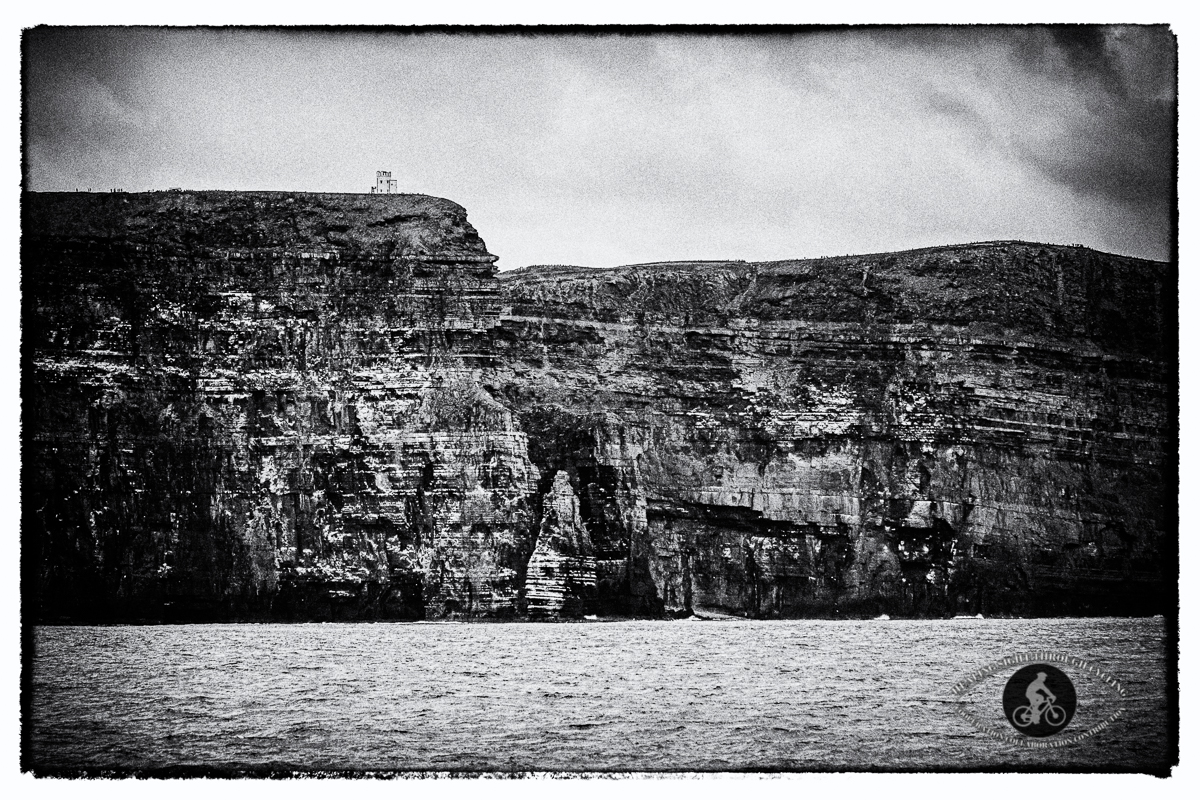 O'Briens Tower on the top of the Cliffs of Moher - BW
