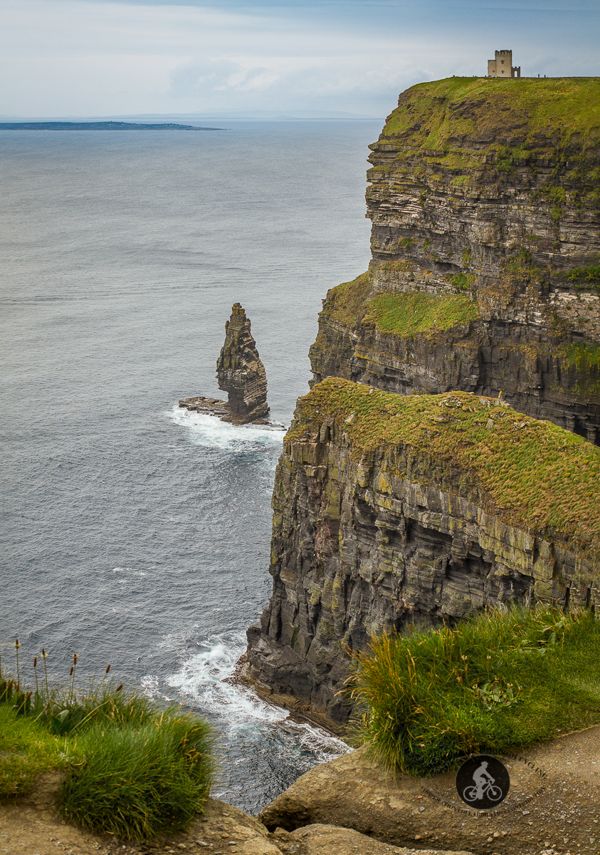 Obriens Tower on top of Cliffs of Moher Branaumore Sea Stack at the bottom - portrait - B