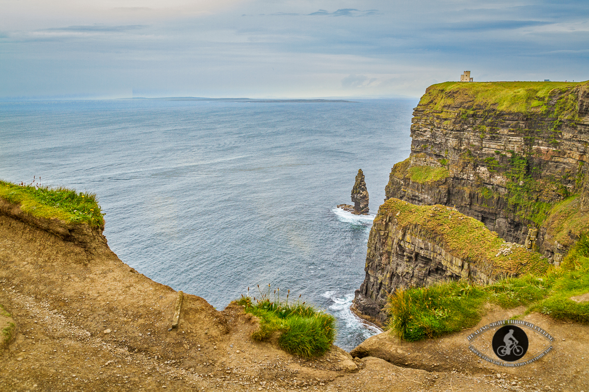 Obriens Tower on top of Cliffs of Moher Branaumore Sea Stack at the bottom