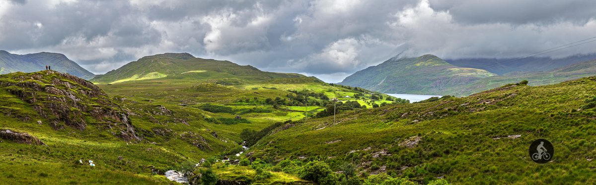 Bunowen River looking towards Erriff River with people on hilltop - County Mayo - large pano
