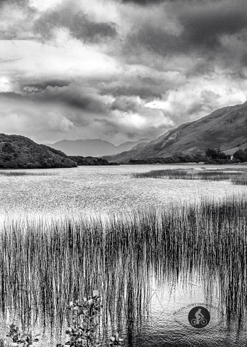 Pollacapall lough and valley in theTwelve Bens Mountain Range - BW