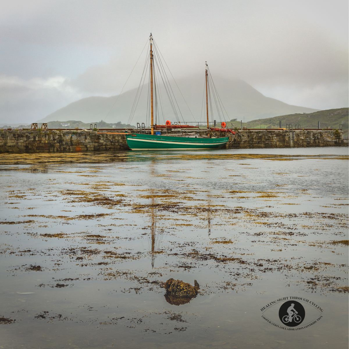 Sailboat at the Avoca Letterfrack Pier - County Galway - square