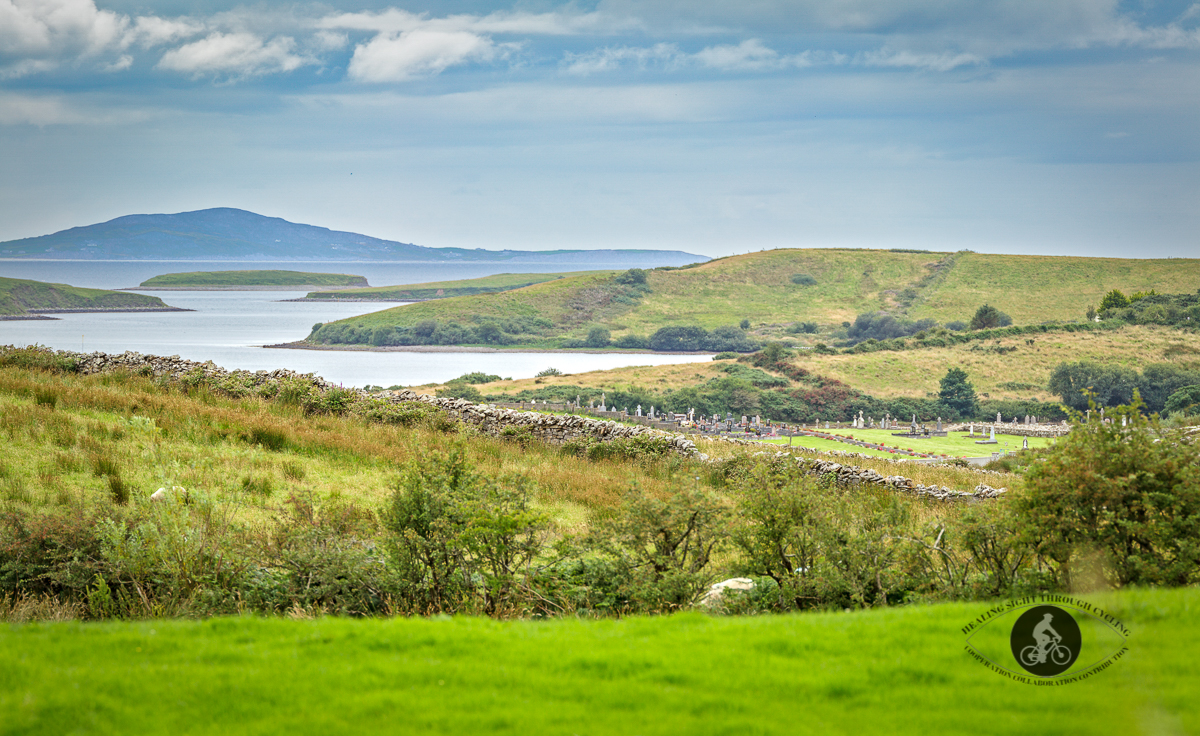 Cemetery in County Mayo looking over Clew Bay to Croagh Patrick Mountains County Galway