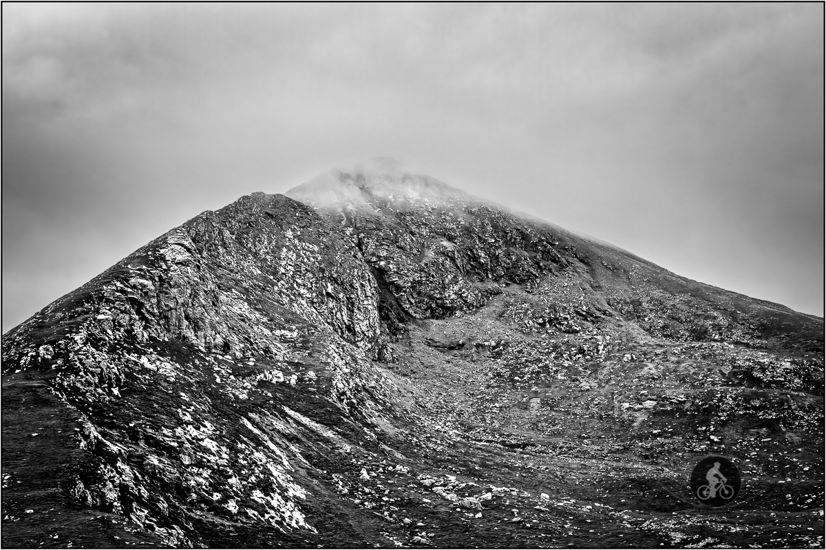 Slievemore mountain in the clouds County Mayo - BW