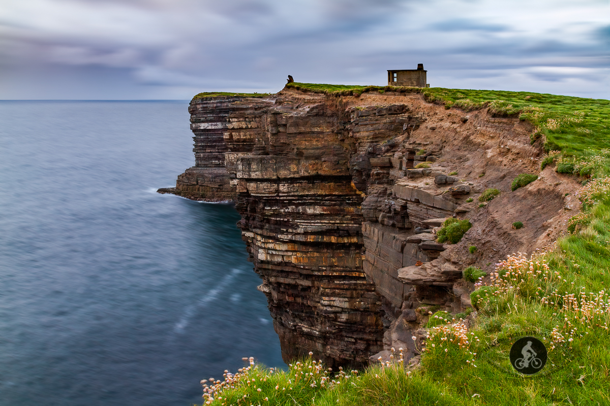 Downpatrick Dun Briste Sea Stack Cliff edge long exposure clouds water- North County Mayo