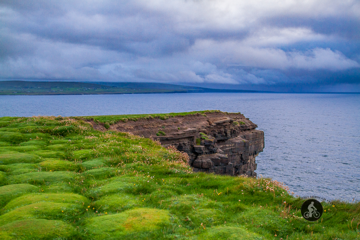 Grass and cliff edge at Downpatrick Dun Briste Sea Stack - looking South-West - North County Mayo