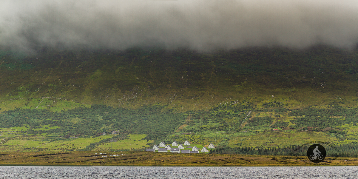 Houses at the foot of Slievemore Mountain over Keel Lough - County Mayo - Large Pano