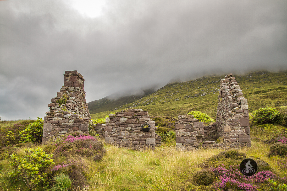 Old stone house ruins foot of Knockletragh Owenduff Hill - County Mayo - straight on view