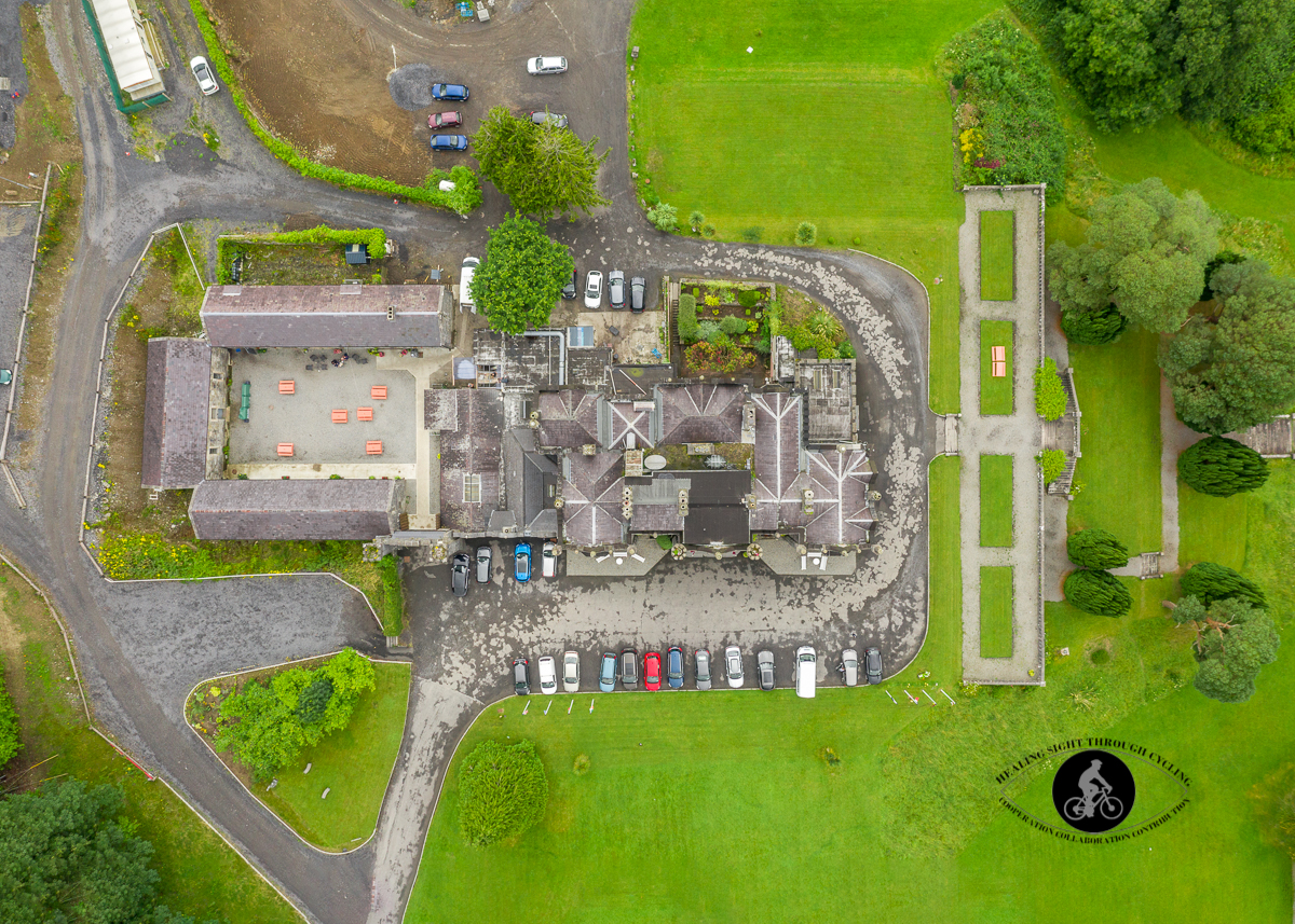 Aerial - Beleek Castle from the air in Ballina County Mayo - birds eyeview