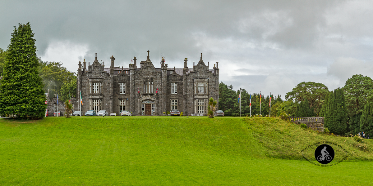 Beleek Castle from the lawn in Ballina County Mayo - pano