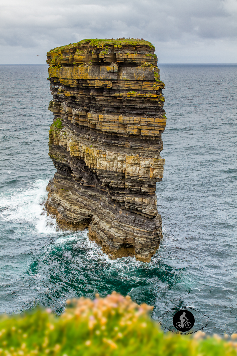 Downpatrick Dun Briste Sea Stack with bokeh grass in front - North County Mayo